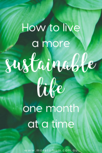 www.moretomum.com.au How to live a more sustainable life one month at a time